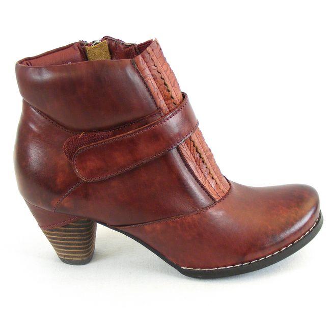 Manitu Damen Schuhe Stiefeletten Leder bordo 13506 Fußbett Reißverschluss – Bild 4