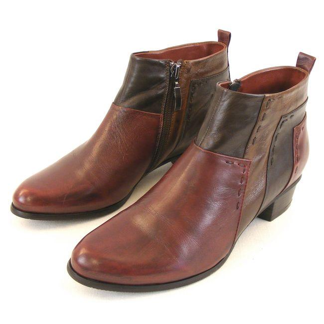 Piazza Damen Schuhe Stiefeletten Leder bordo braun dunkelbraun 13610 Fußbett – Bild 1