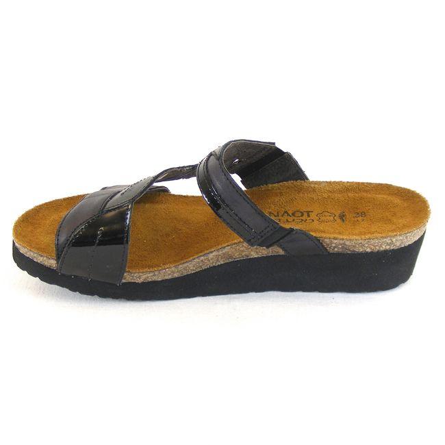Naot Damen Schuhe Pantoletten Kimberly Leder schwarz combi 13698 Korkfußbett  – Bild 2