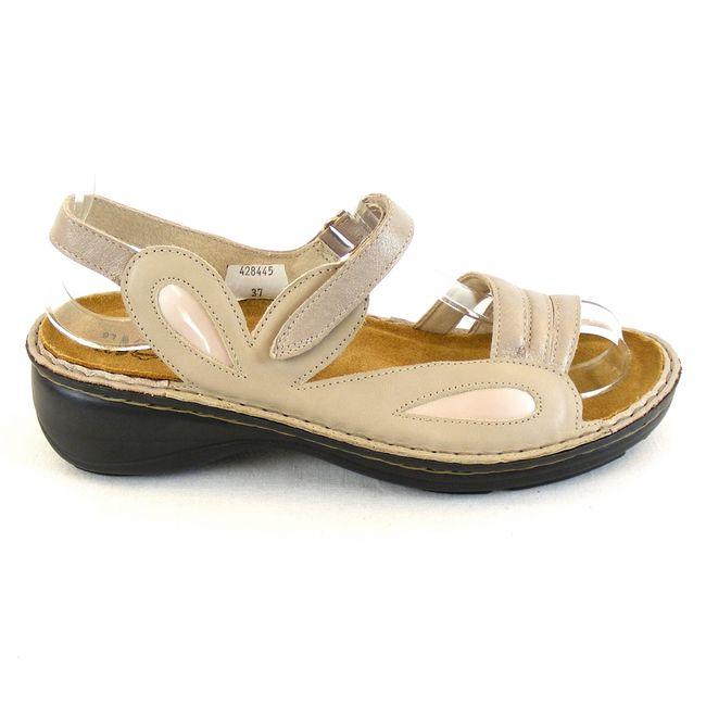 Naot Damen Schuhe Sandaletten Garden Leder beige combi 13729 Wechselfußbett  – Bild 4