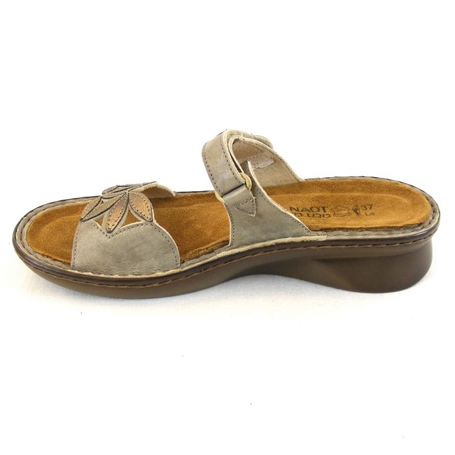 Naot Damen Schuhe Pantoletten Mozart Leder grau messing metallic 13845 Fußbett – Bild 2