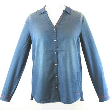CECIL Damen Bluse jeansblau 13913 Materialmix Langarm washed Optik mit Pins – Bild 1