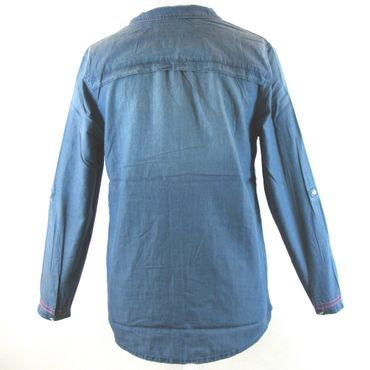 CECIL Damen Bluse jeansblau 13913 Materialmix Langarm washed Optik mit Pins – Bild 3