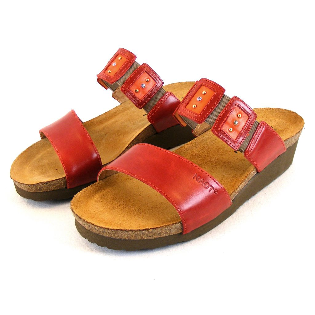 Naot Damen Schuhe Pantoletten Emma Leder Rot Combi 14051 Korkfußbett Freizeit, Größe:41