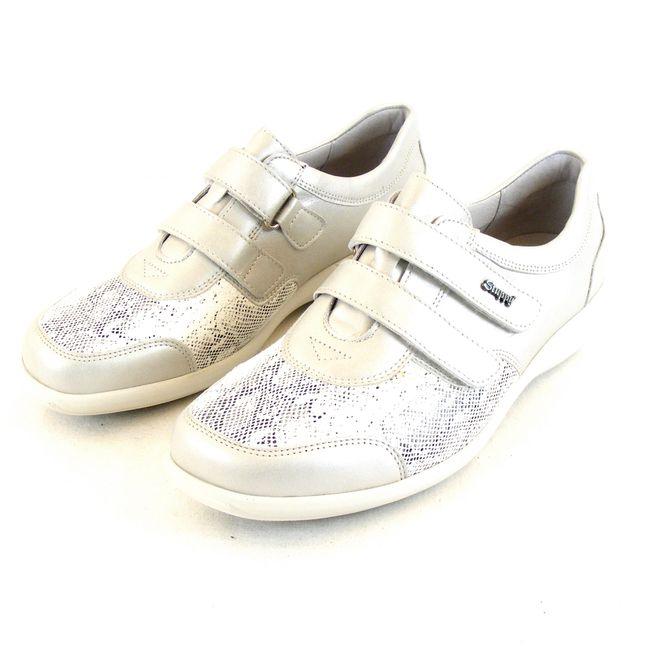 Stuppy Damen Schuhe Halbschuhe Leder Stretch hellgrau 14110 Wechselfußbett – Bild 1