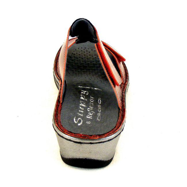 Stuppy Damen Schuhe Pantoletten Leder rot bordo Lack 14117 Wechselfußbett – Bild 3