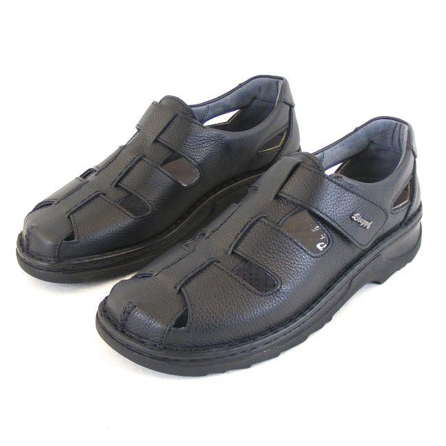 Stuppy Herren Schuhe Sandaletten Leder schwarz 14139 Fußbett Klettverschluss – Bild 1