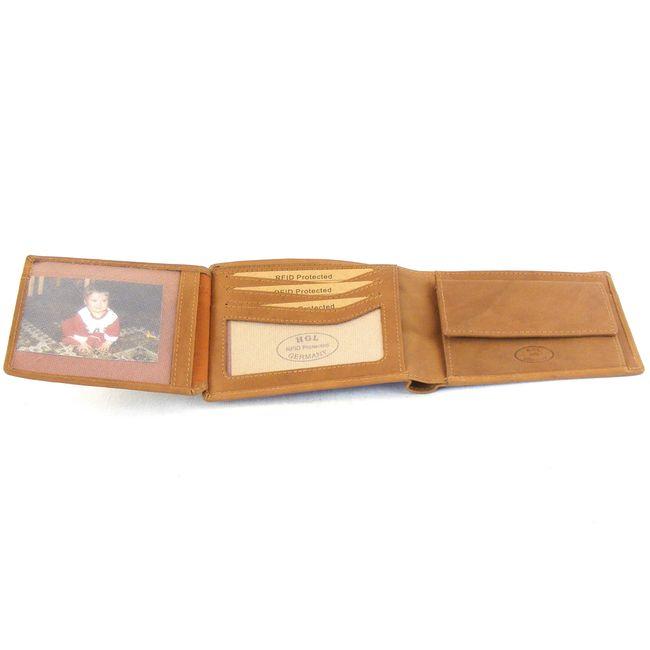 HGL Herren Geldbörse Querformat mit RFID Schutzfolie Leder natur 14205 Bildfach – Bild 4