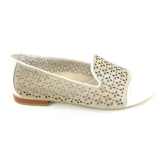 Piazza Damen Schuhe Slipper Echt-Leder grau - silber durchbrochen flach 14556 – Bild 4