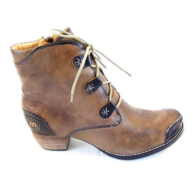 Manitu Damen Schuhe Stiefeletten Echt-Leder taupe 14731 Reißverschluss gefüttert – Bild 4