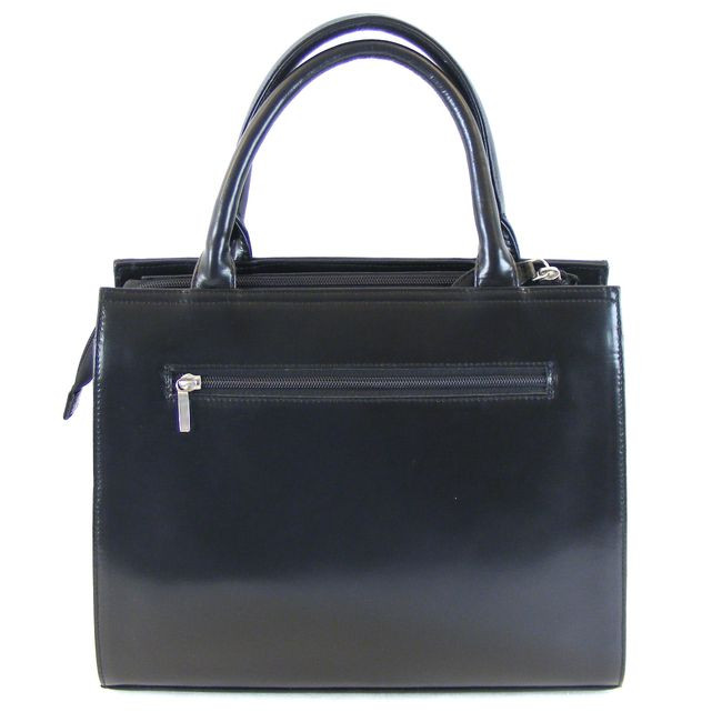 Pavini Damen Tasche Shopper Roma Echt-Leder schwarz 14777 Reißverschluss – Bild 3