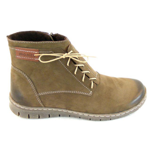 Manitu Damen Schuhe Knöchelschuhe Echt-Leder Nubuk khaki 14810 Reißverschluss – Bild 4