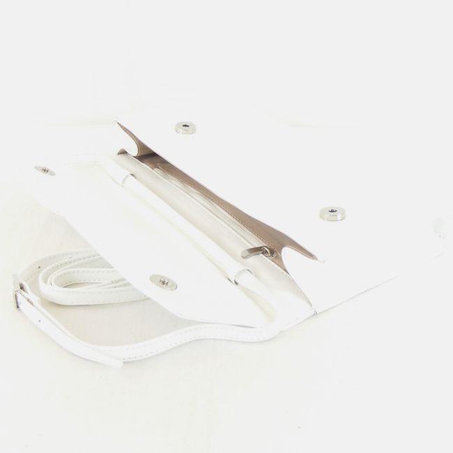 Pavini Damen Tasche Abendtasche Lack Echt-Leder weiß Lack 14830 Magnetverschluss – Bild 4