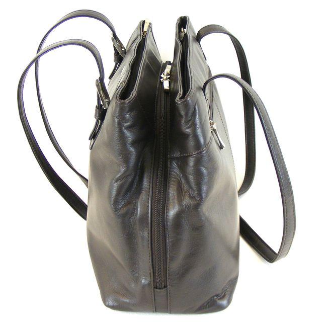Pavini Damen Tasche Shopper Classics Echt-Leder dunkelbraun 14880 Reißverschluss – Bild 2