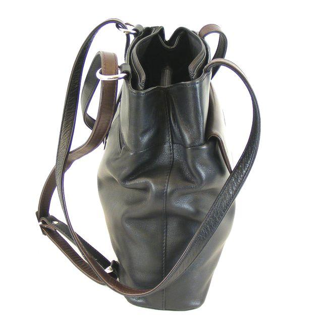 Pavini Damen Tasche Shopper Rucksacktasche Messina Rindnappa schwarz braun 14992 – Bild 4