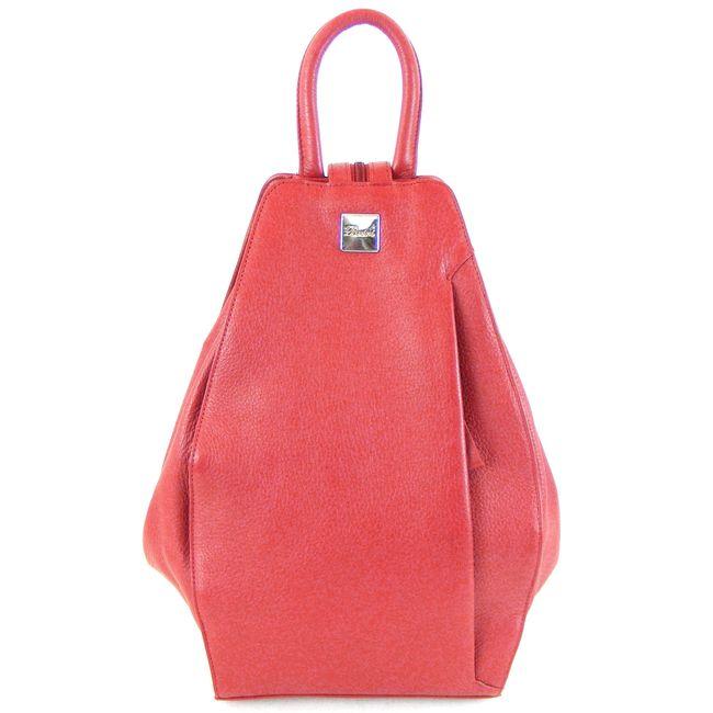 Pavini Damen Rucksack Cityrucksack Verona Echt-Leder rot 15008 Reißverschluss – Bild 1