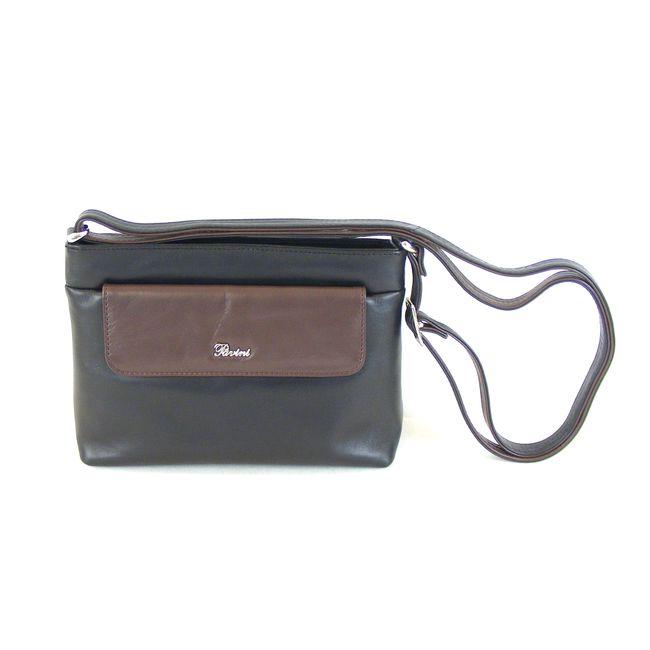 Pavini Damen Tasche Crossovertasche Messina Echt-Leder schwarz braun 15023 klein – Bild 1