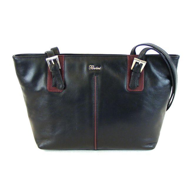 Pavini Damen Tasche Shopper Como Echt-Leder schwarz bordo 15079 Reißverschluss – Bild 1