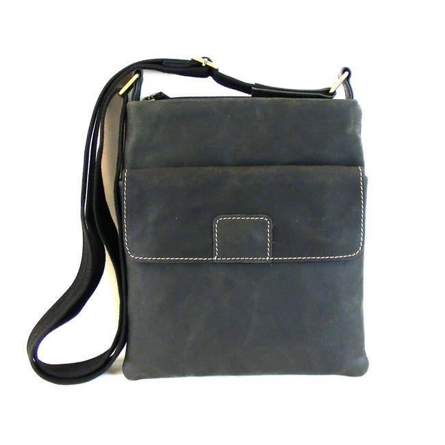 HGL Damen Tasche Crossovertasche Echt-Leder schwarz 15150 Reißverschluss RV-Fach – Bild 1