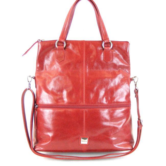 Pavini Damen Tasche Klapp Shopper Siena Echt-Leder rot 15205 Reißverschlussfach – Bild 2