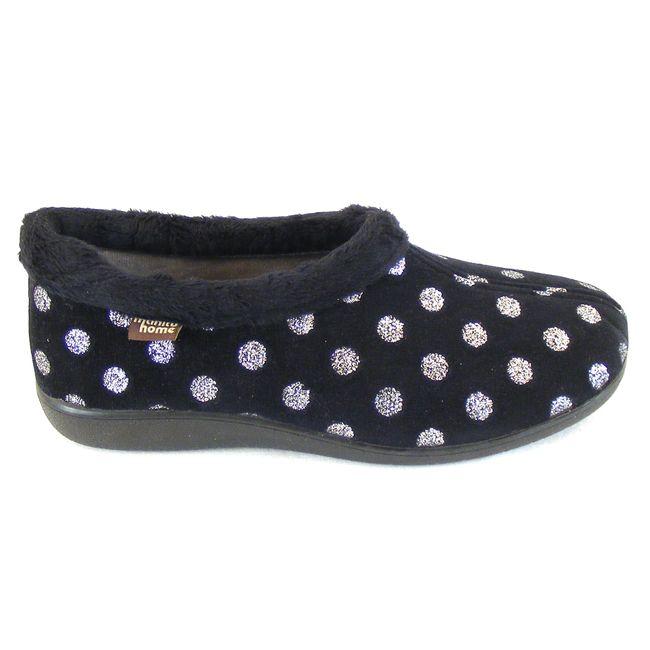 Manitu Damen Schuhe Hausschuhe Flauschstoff schwarz 15226 silbernes Punktedesign – Bild 4