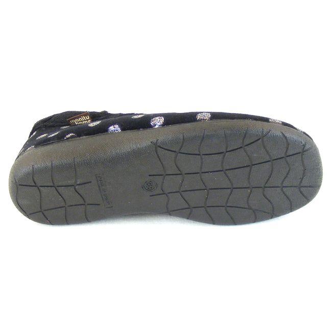 Manitu Damen Schuhe Hausschuhe Flauschstoff schwarz 15226 silbernes Punktedesign – Bild 5