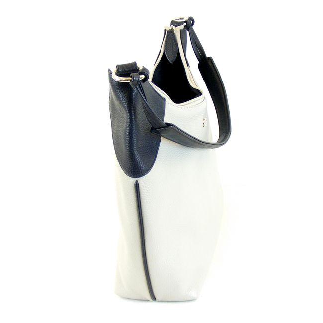 Pavini Damen Tasche Henkeltasche Venezia Echt-Leder hellgrau dunkelblau 15245 – Bild 6