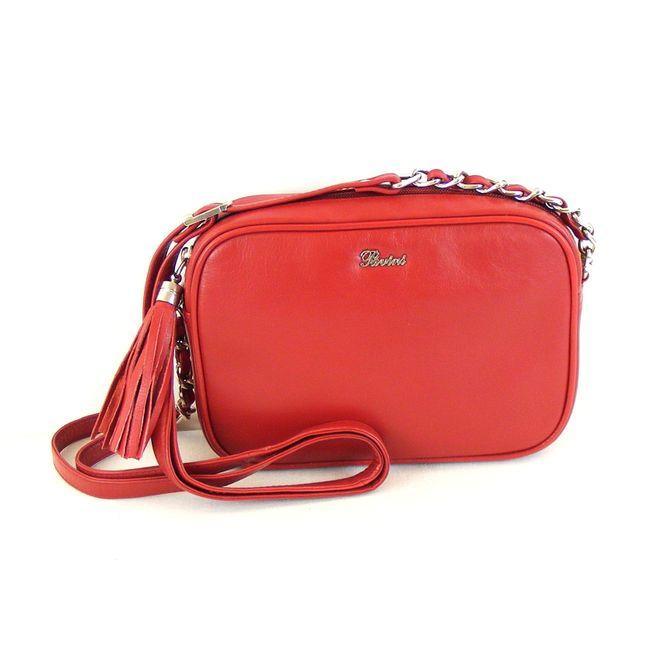 Pavini Damen Tasche Crossovertasche Bari Echt-Leder rot 15372 Handyfach RV-Fach – Bild 1