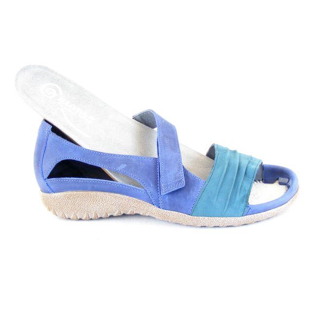 Naot Damen Schuhe Sandaletten Papaki Leder blau teal combi 15410 Wechselfußbett – Bild 6