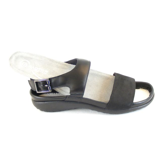 Naot Damen Schuhe Sandaletten Haki Echt-Leder schwarz combi 15428 Wechselfußbett – Bild 6