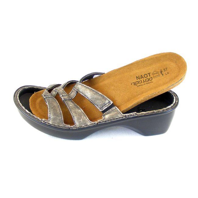 Naot Damen Schuhe Pantoletten Bilbao Echt-Leder schwarz hellgold Freizeit 15584 – Bild 6