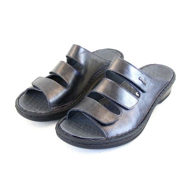 Stuppy Damen Schuhe Pantoletten Leder grau silber Wechselfußbett  Freizeit 15702 – Bild 1