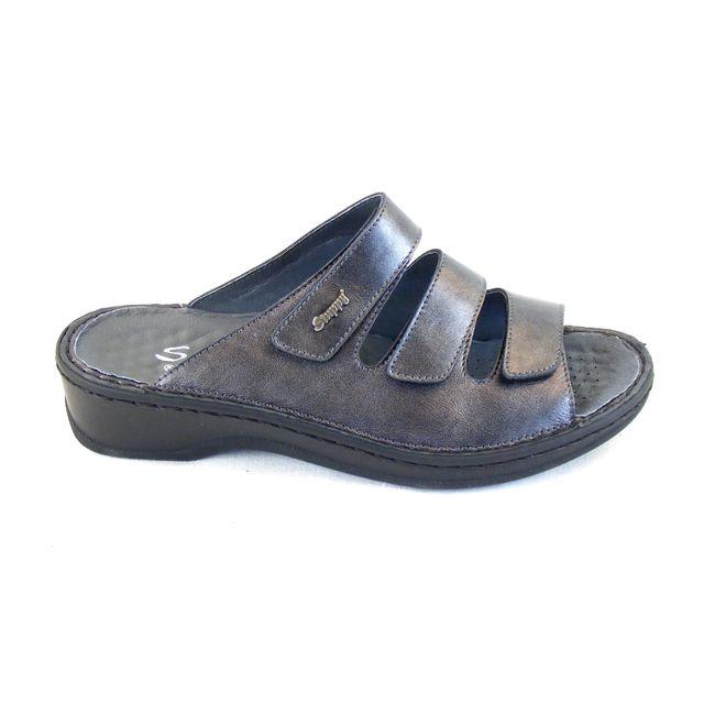 Stuppy Damen Schuhe Pantoletten Leder grau silber Wechselfußbett  Freizeit 15702 – Bild 4