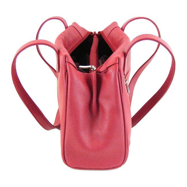 Pavini Damen Tasche Shopper Venezia Echt-Leder rot Reißverschluss RV-Fach 16096 – Bild 4