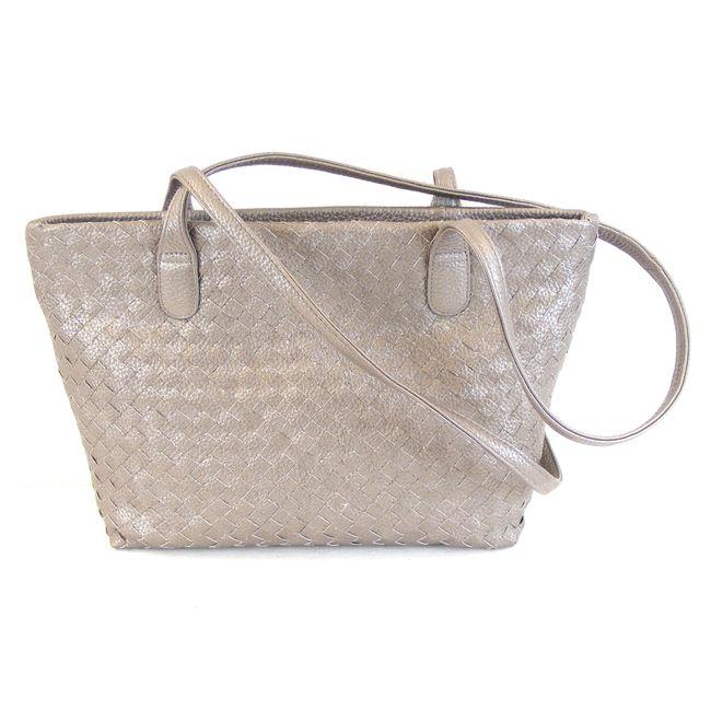 Pavini Damen Tasche Shopper Rimini Echt-Leder Flecht silber Reißverschluss 16172 – Bild 1
