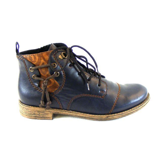 Rieker Damen Schuhe Knöchelschuhe Synthetik blau combi warm gefüttert 16247 – Bild 4