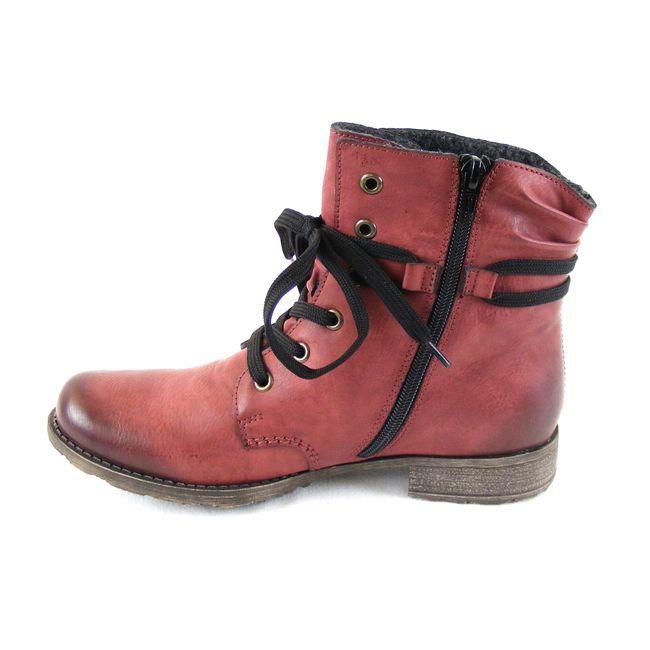 Rieker Damen Schuhe Knöchelschuhe hoch Reißverschluss Synthetik rot 16268 – Bild 2