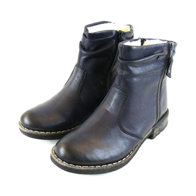 Rieker Damen Schuhe Stiefeletten Synthetik Lammfell gefüttert nachtblau 16273 – Bild 1