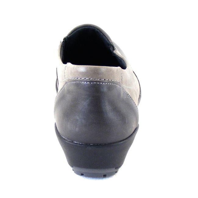 Comfortabel Damen Schuhe Slipper bequeme Weite Echt-Leder grau combi 16338 – Bild 3