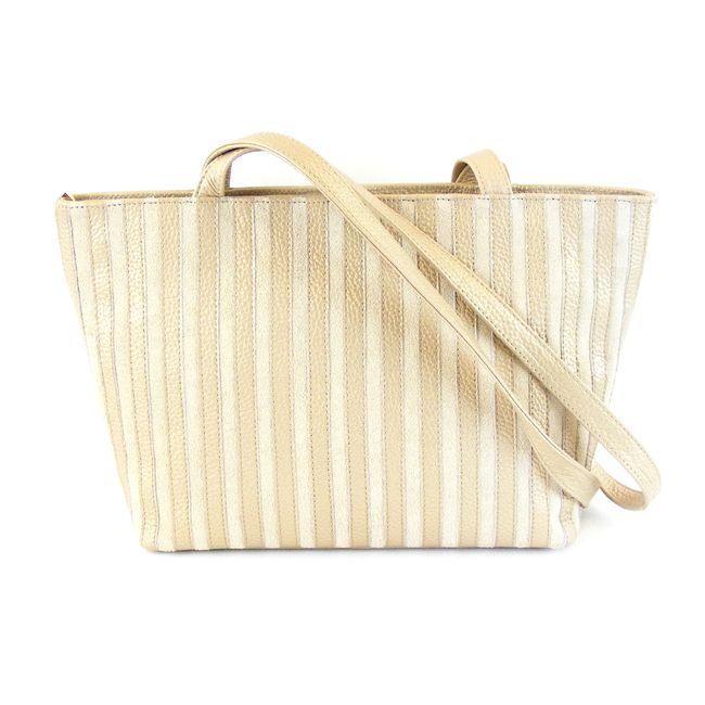 Pavini Damen Tasche Shopper Florenz Echt-Leder gold Streifen Außenfach 16383