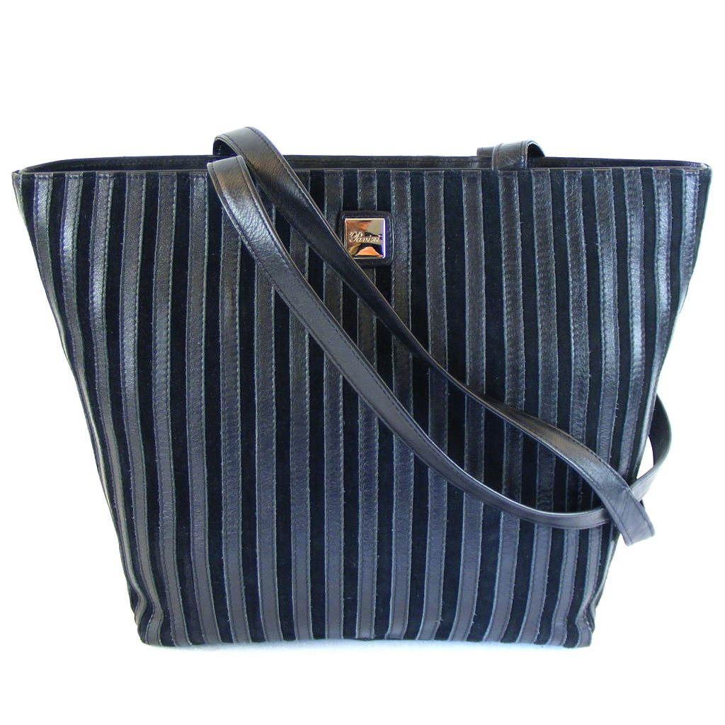 ee4d94ea8a799 Pavini Damen Tasche Shopper Florenz Echt-Leder schwarz Streifen groß 16393