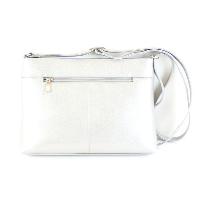 Pavini Damen Tasche Crossovertasche Florenz Echt-Leder silber Streifen 16419 – Bild 3