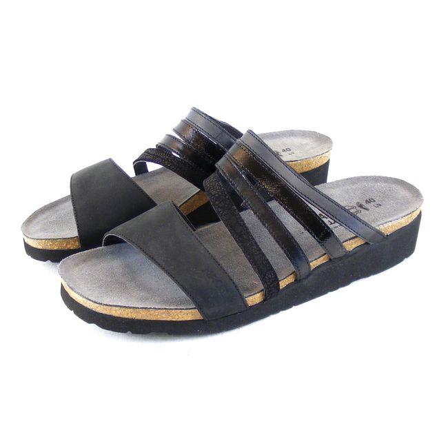 Naot Damen Schuhe Pantoletten Peyton Echt-Leder schwarz combi 16439 Korkfußbett – Bild 1
