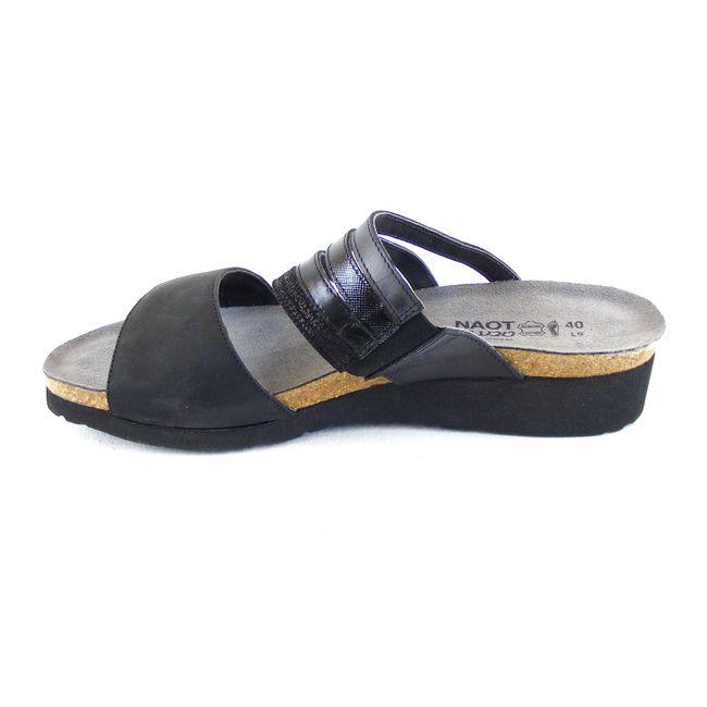 Naot Damen Schuhe Pantoletten Peyton Echt-Leder schwarz combi 16439 Korkfußbett – Bild 2