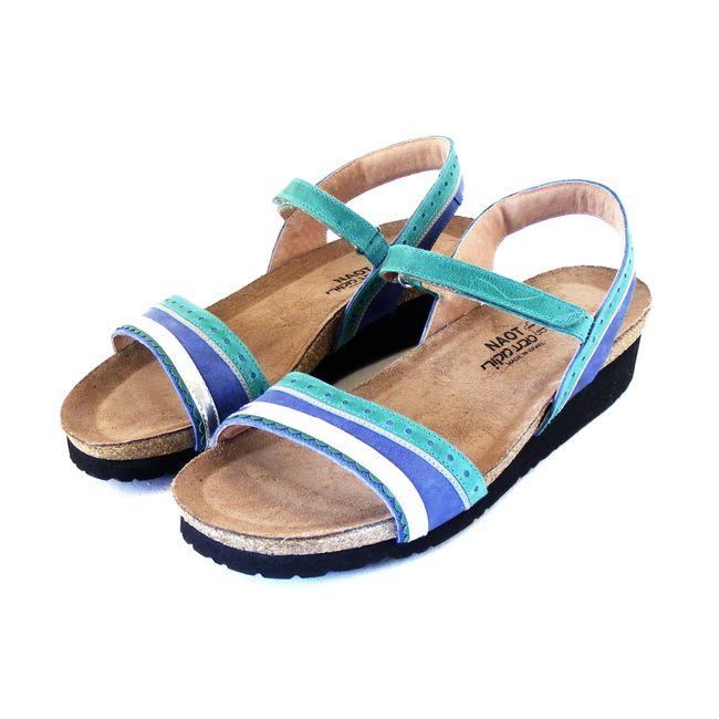 Naot Damen Schuhe Sandaletten Beverly Echt-Leder grün blau combi 16444 Fußbett – Bild 1