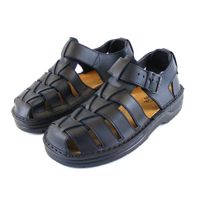 Naot Herren Schuhe Sandaletten Julius Echt-Leder schwarz matt Wechselfußbett    – Bild 1