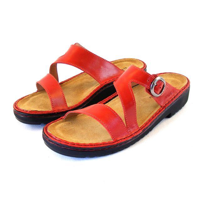 Naot Damen Schuhe Pantoletten Geneva Echt-Leder rot poppy Wechselfußbett 16505