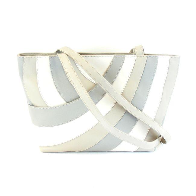 Pavini Damen Tasche Shopper Amalfi Echt-Leder beige multi Reißverschluss 16615