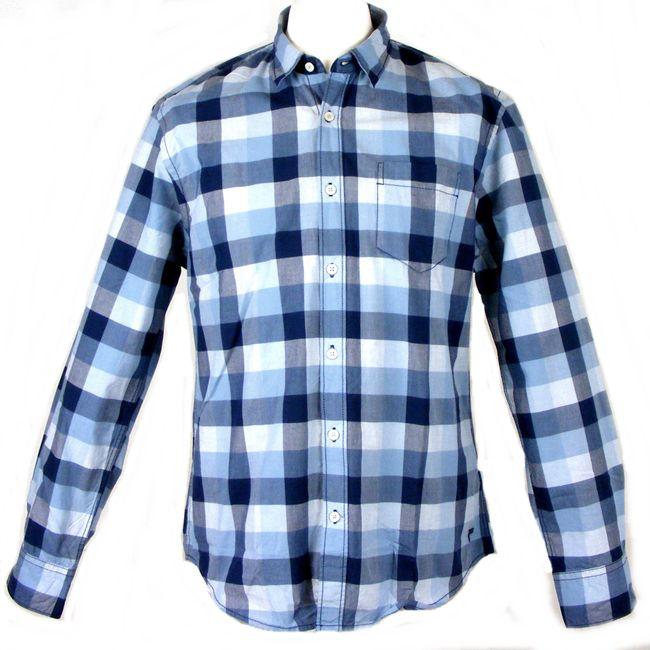 Pioneer Herren Hemd Langarm 34450 blau Karodesign Baumwolle – Bild 1