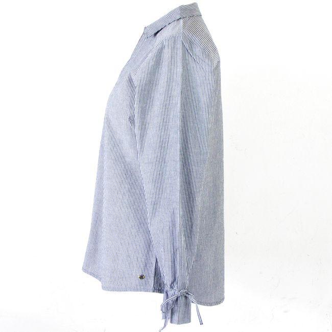 Cecil Damen Schlupfbluse mit Bindeband 34536 dunkelgrau gestreift Baumwolle – Bild 2